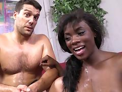 Ana Foxxx gets cum on her ebony breasts and enjoys it