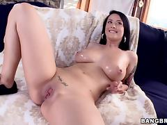 Jovial Brunette With Big Tits Awarding A Huge Dick Titjob