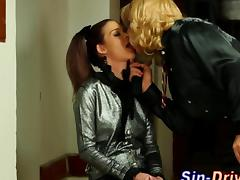 Glam fetish brunette slut sucks a strap on