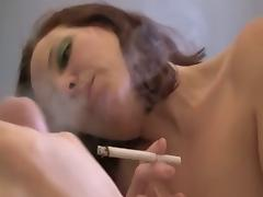 Smoking Annabelle Flowers hairy hole got banged up