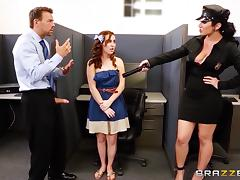 Curvy cop Jayden Jaymes enjoys rear pounding in an office