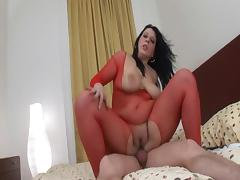 Plump milf in red fishnet