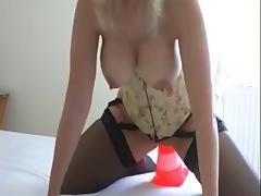 Horny bitch rides traffic cone