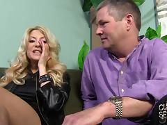 Blonde milf Helly Mae Hellfire lets a man rub her big tits