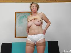 Blonde, Blonde, Mature, Old, Saggy Tits, Solo