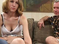 Gorgeous Young Babes With Big Tits Giving Her Old Guy Blowjob