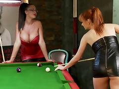 Lesbians in leather outfit fuck roughly in bondage