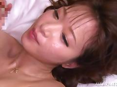 Japanese babe Mayu Kamiya milks a cock dry on her face