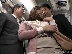 Asian hooker Minori Hatsune fucked in MMF threesome on a public bus