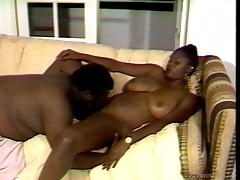 ebony cowgirl with natural tits rides hard cock and orgasms
