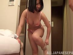 Beautiful Asian girl with nice big tits enjoying a hardcore fuck in the bath
