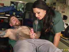 Brunette milf Kerry Louise has sex with Dean Van Damme in a garage