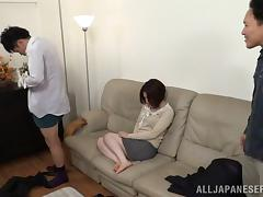 Breathtaking Japanese Cougar In Miniskirt Giving A Steamy Blowjob