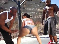 Busty brunette mom Lisa Ann gets her holes slammed by two black studs