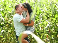 Jay Dee pounds slim brunette Mia Manarote's pussy in the fields