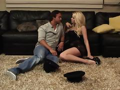 Riley Steele gets fucked on the couch hardcore in a hot orgasm