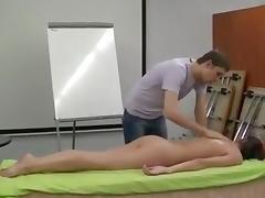 Exposed dilettante massage demonstration - captivating skinny brunette hair