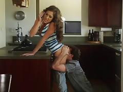 Kiera King gets nailed in the kitchen after a phone call