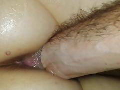 fist in wife's oiled pussy up close asshole