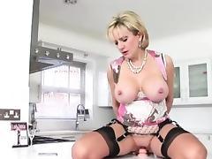 British Lady Sonia rides dildo