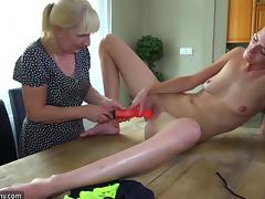 mature lesbians fuck and play with toys in old and young scene