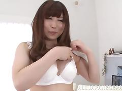 Sexy Asian babe with big natural tits getting her hairy pussy fingered