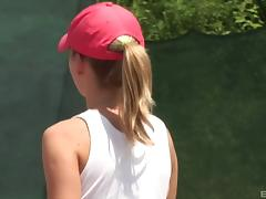 Sporty cutie Helga blows and gets fucked on a tennis court