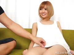 Kana Aono lets a dude toy her cunt and takes a ride on his dick