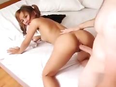 Tiny Asian slut gets her hairy muff ravished
