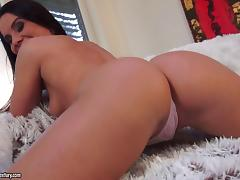 brunette in thong fucks using toys in solo model scene