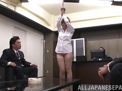 Slut gets facial cumshot after gangbang fucking in the office
