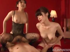 Hot ass japanese bimbos are sharing a naughty big cock fuck