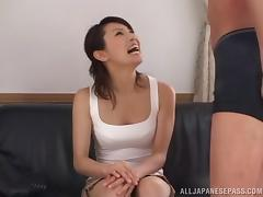 Icy hot Japanese cowgirl moaning as her hairy pussy gets licked before being smashed hardcore