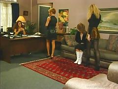 Three horny lesbians toying their tight pussies in the office