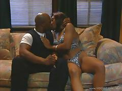 Ebony Diana DeVoe gives hand to a man and gets fucked from behind