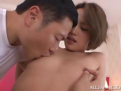 Awesome Asian babe Karen Aoki gets small tits pinched