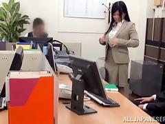 Attractive Asian dame in pantyhose getting her pussy licked and banged hardcore in the office