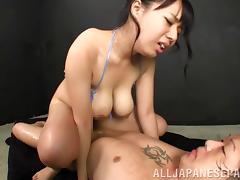 Loving Japanese cowgirl with big natural tits getting her hairy pussy hammered hardcore missionary style