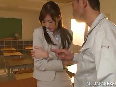 Teacher, Asian, College, Couple, Fingering, Japanese