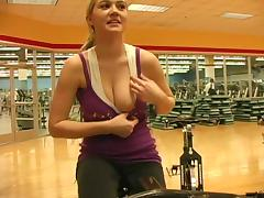 Hardcore reality solo with Alison Angel getting naughty in a gym