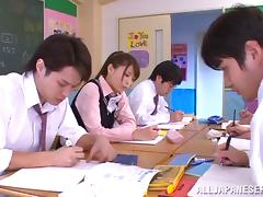 College slut Harumi Tachiba plays with a few dicks and gets facialed