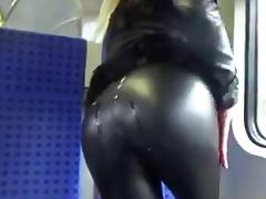 Cum on Sexy Ass in Leather (In Public!)