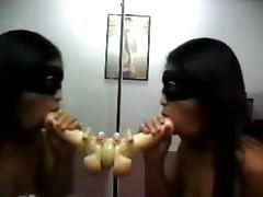 Mirror Suction Dildo Fuck