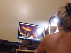 Wife and I cum to our own porn