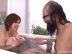 Old and young clip with Japanese babe getting slammed Hardcore in bathroom