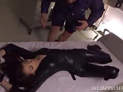 Curvy Japanese dame in leather attire yelling while her hairy pussy is banged hardcore