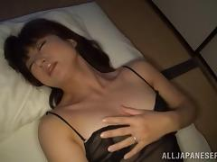 Gorgeous Asian solo model in sexy lingerie fondling her tits as she ravishes her hairy pussy with a toy