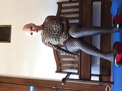 crossdresser changing tights