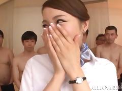 Multiple guys gangbang and jizz on this horny Japanese girl