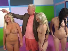 One lucky dude gets to have group sex with three babes at once